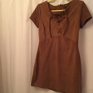 Express 60s + 70s Faux Suede Lace Up Brown Dress